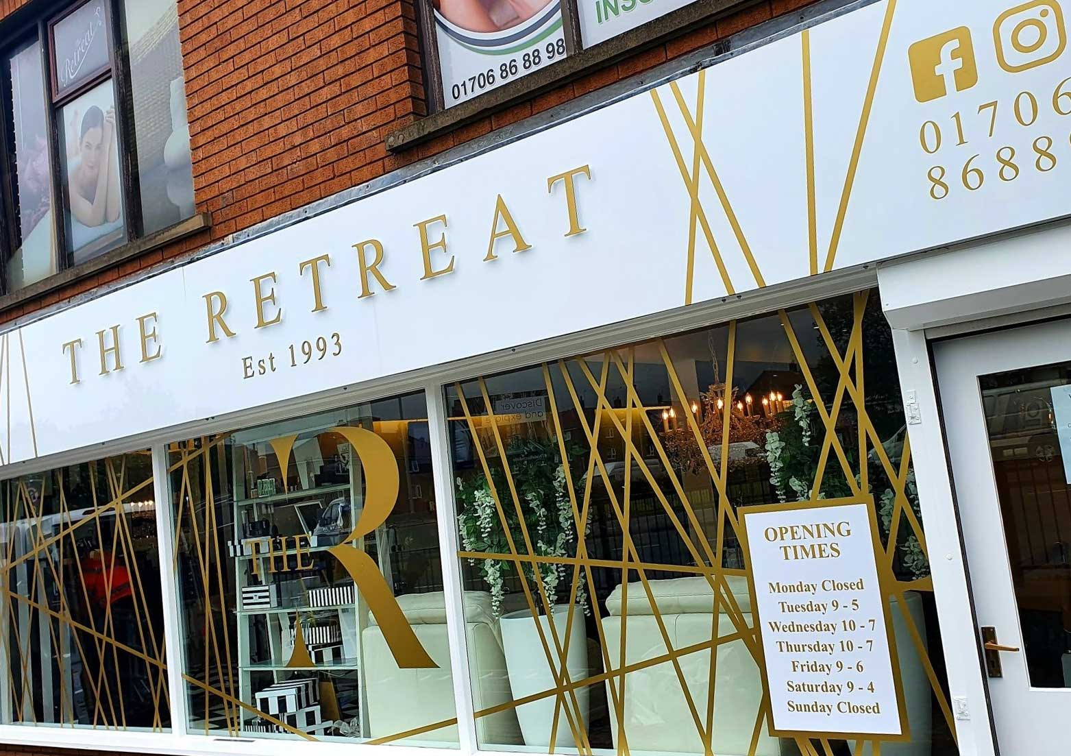 The Retreat Beauty Salon External Signage in Rochdale